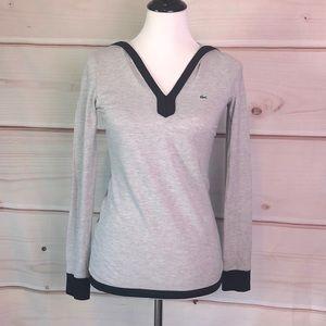 Lacoste Grey Hooded Long Sleeve Black Trim Top